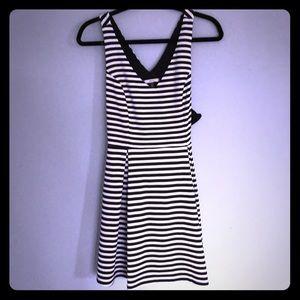 Black and white striped Crepe dress.